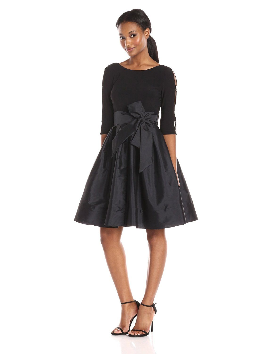 Adrianna Papell Women\'s Taffeta Two-fr Fit and Flr Long Sleeve Dress ...