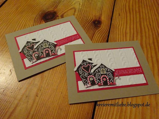 Weihnachtskarte # 1   DSP: Zuckerstangenzauber   Tiefenprägeform: Zopfmuster ~ Kreiere mit Liebe - Stempeln, Stanzen, Prägen und Co.