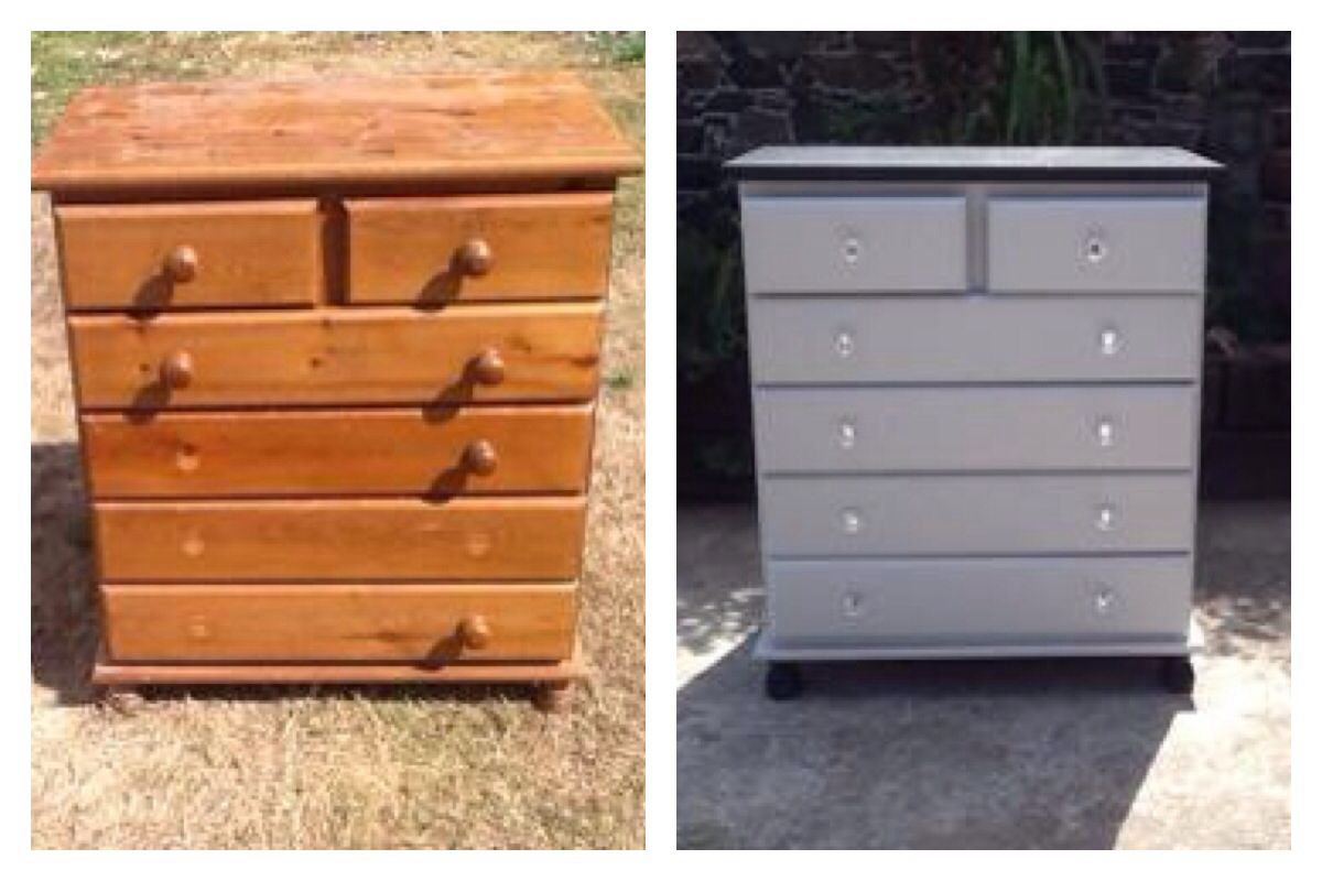 Upcycled Old Boring Pine Chest Of Drawers Now Painted In Light Rain With Sparkly Handles It S Looking So Much Better