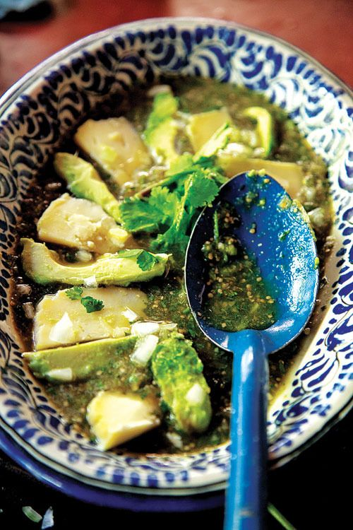 Salsa de Albañil (Tomatillo Salsa with Avocado and Queso Fresco) by Saveur. This fruity tomatillo salsa layered with queso fresco and avocado slices can be served as a side dish or as an appetizer with warm tortillas. The recipe comes from cookbook author Diana Kennedy.