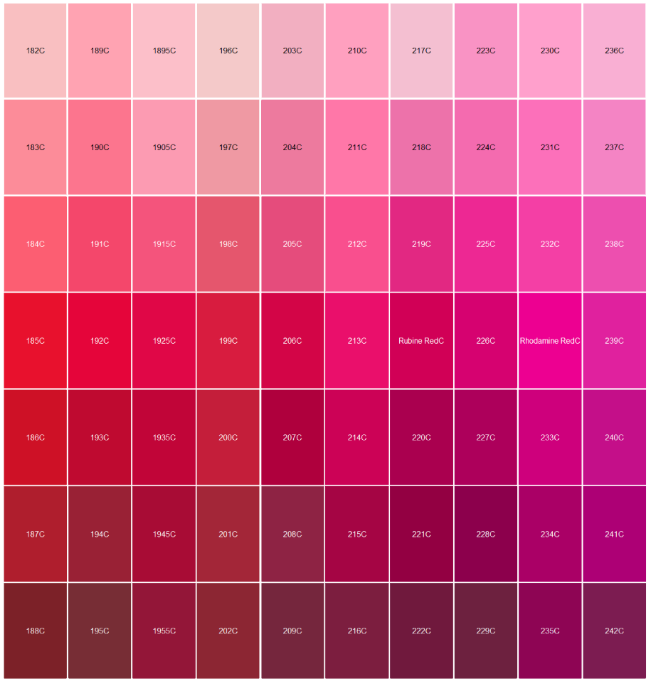 Logo Pantone Color Matching Red And Pink Color Palette Pink Pantone Color Chart Pantone Color Match
