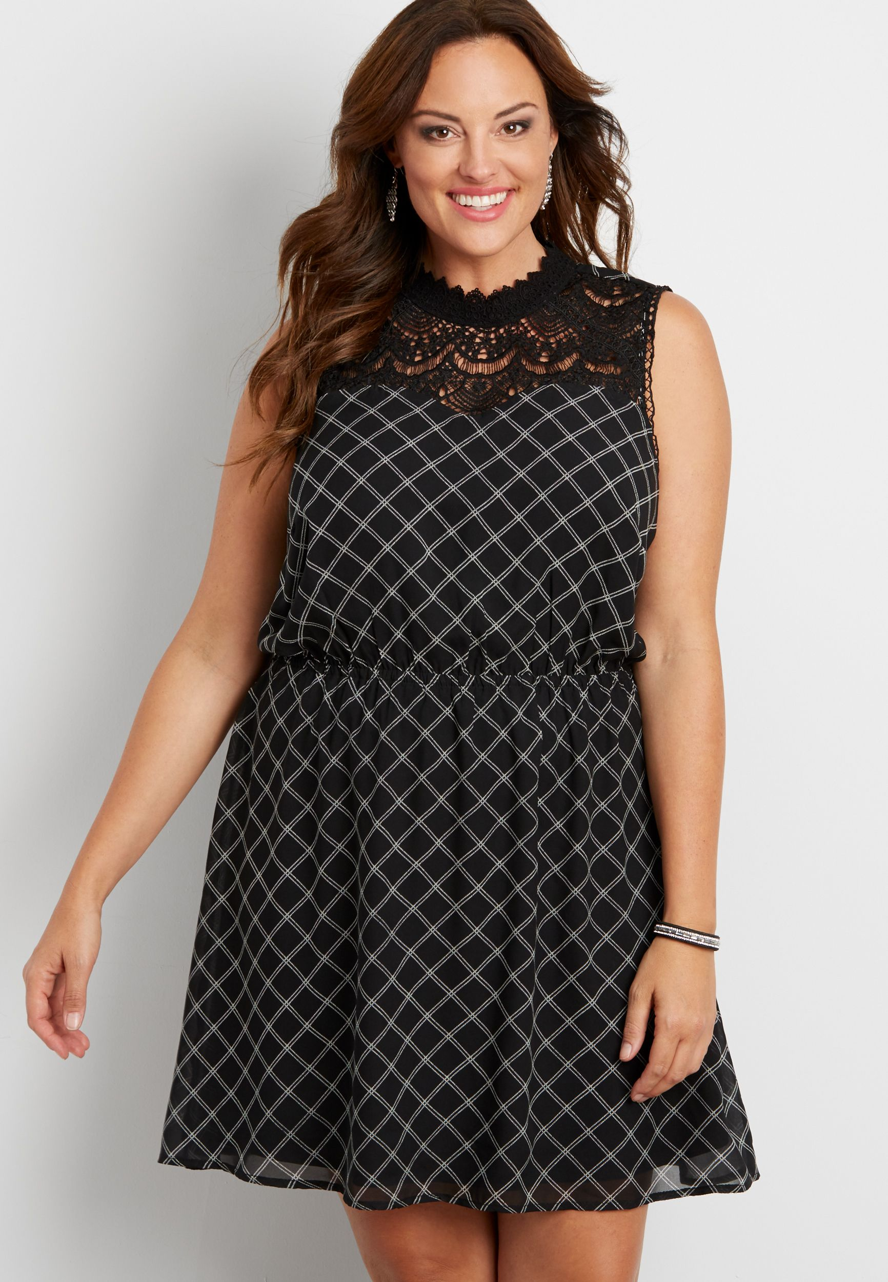 plus size plaid chiffon dress with crocheted yoke (original ...