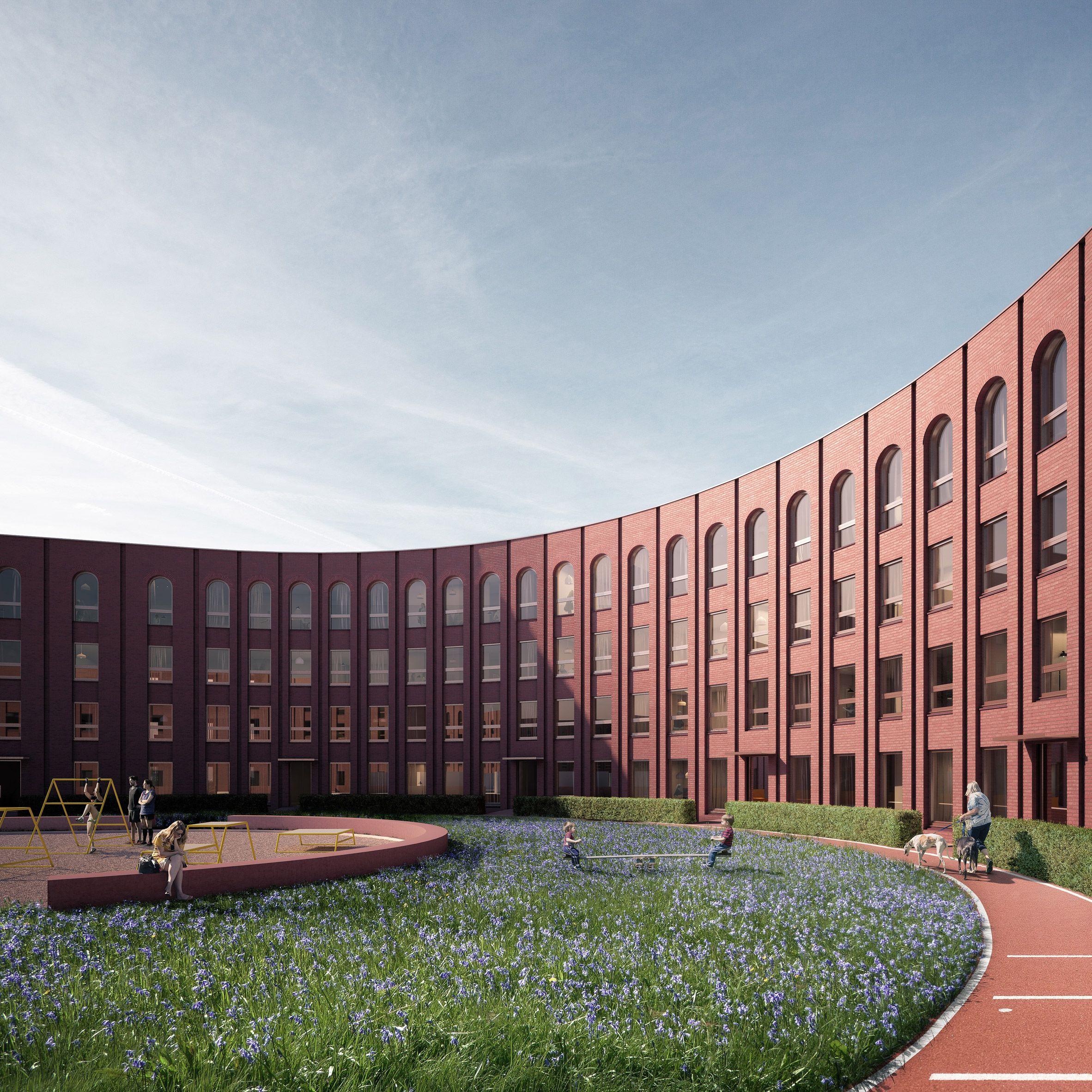 Glasgow Scotland Graeme Nicholls Architects Designs Oval Housing Block In Glasgow Logements Collectifs Logement