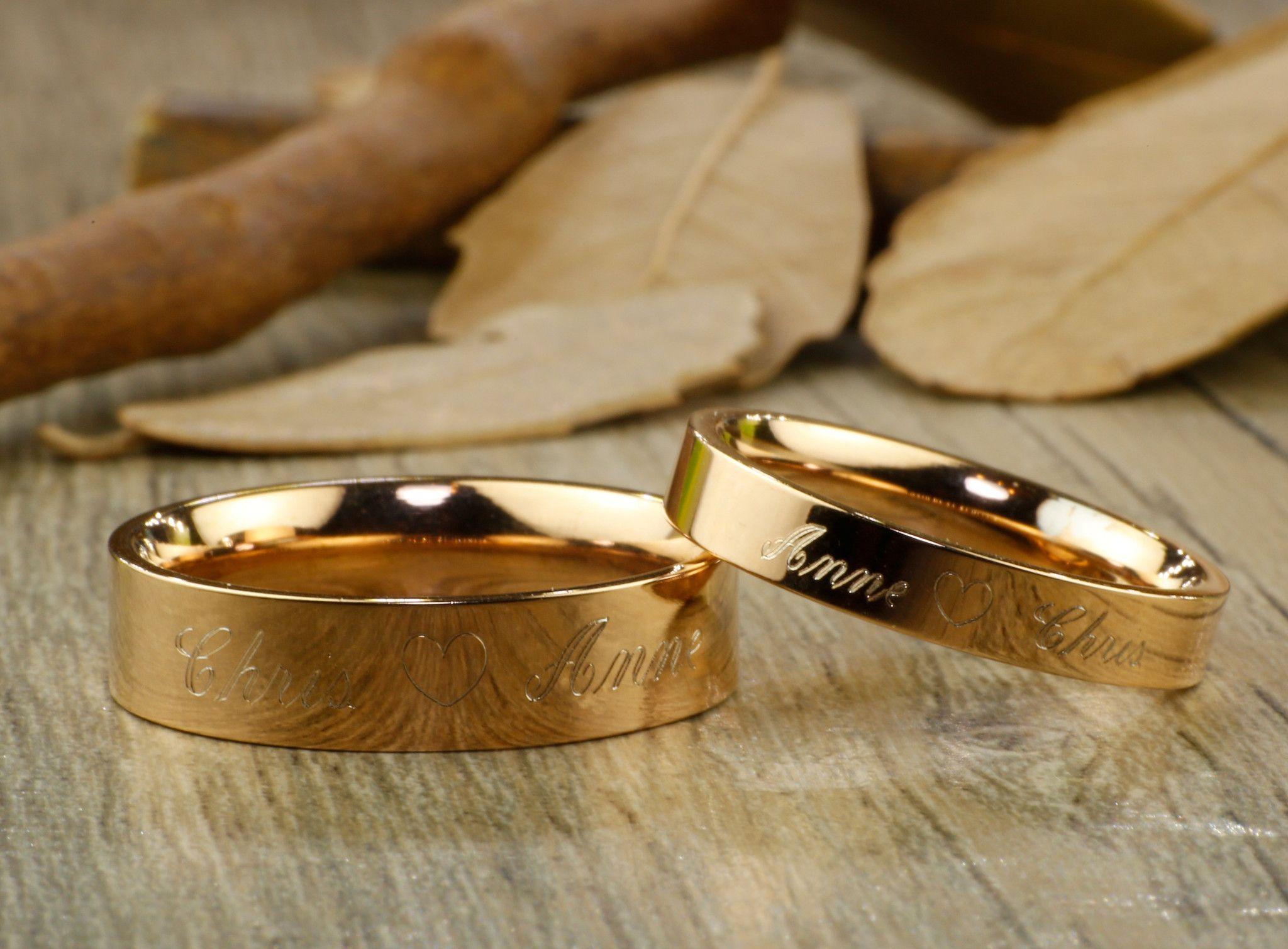 Custom Elvish Tengwar Lord Of The Rings Rose Gold Flat Matching Wedding Bands Couple Rings Set Titanium Rings Set Anniversary Rings Set Couples Ring Set Anniversary Ring Set Titanium Ring Set