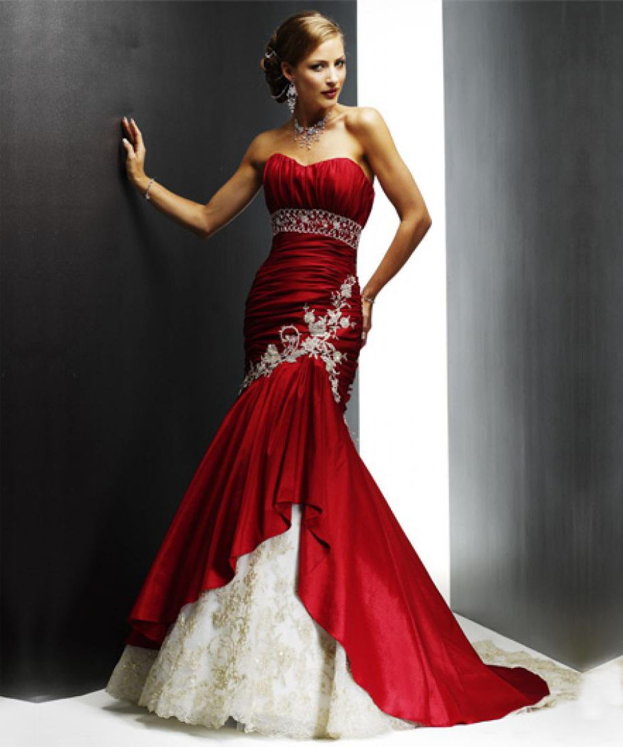 Wedding gown with red accents  Fashion Trends Lovely Red White Beaded Wedding Dress Combined With
