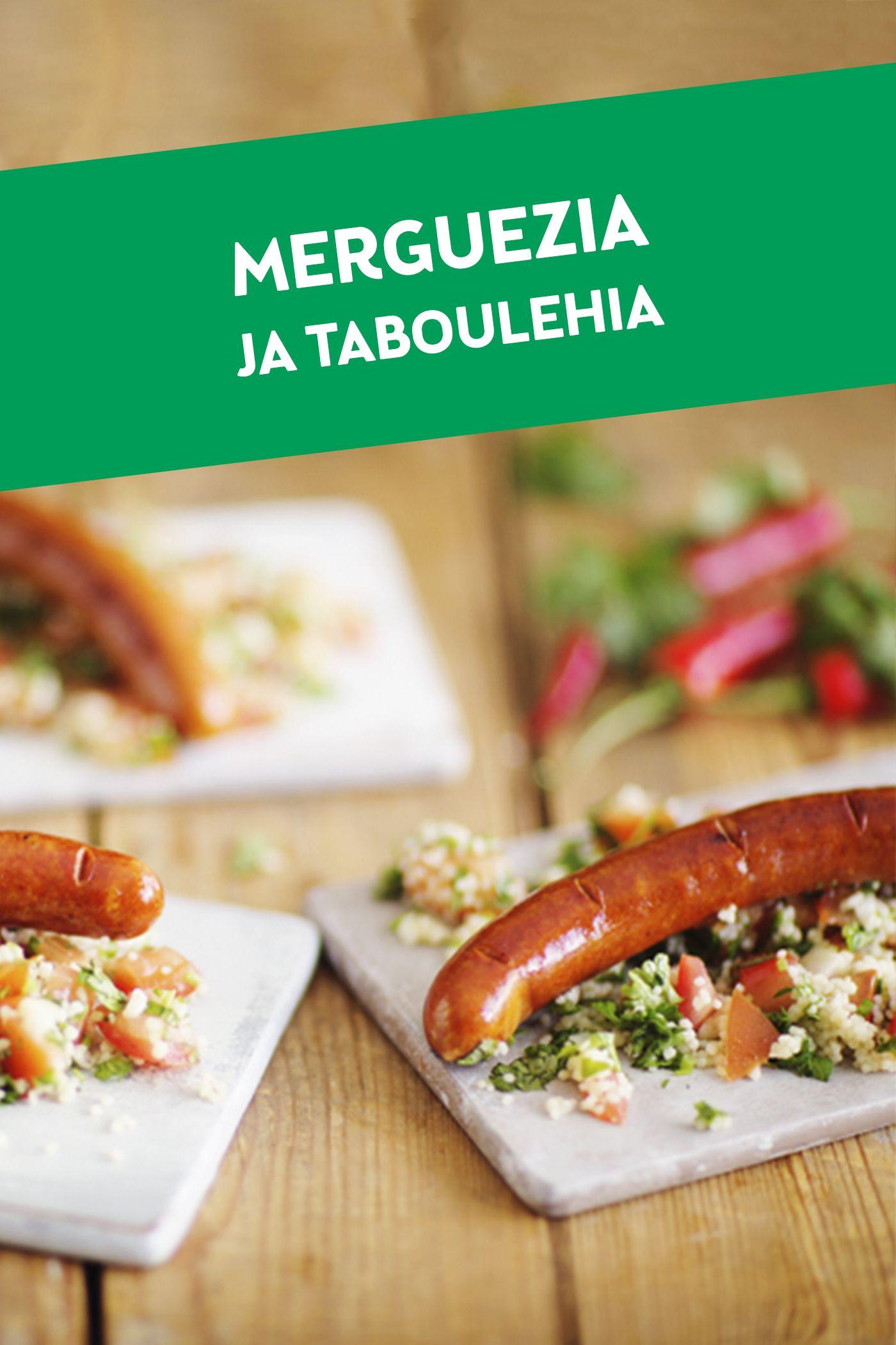 Merguez-makkara ja tabouleh-salaatti muodostavat herkullisen yhdistelmän mausteisen ruoan ystäville.
