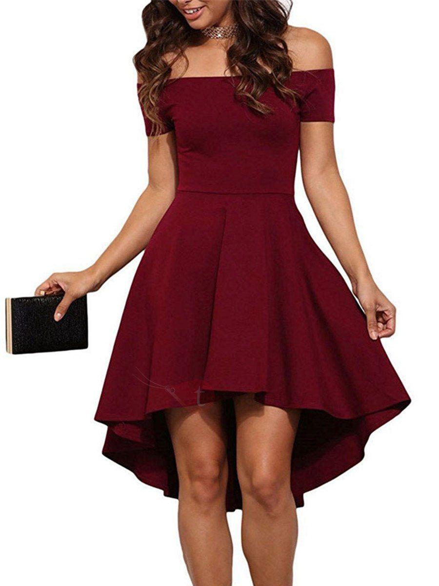Vestido Off Shoulder Asimétrico Vestido Tinto Vestidos De