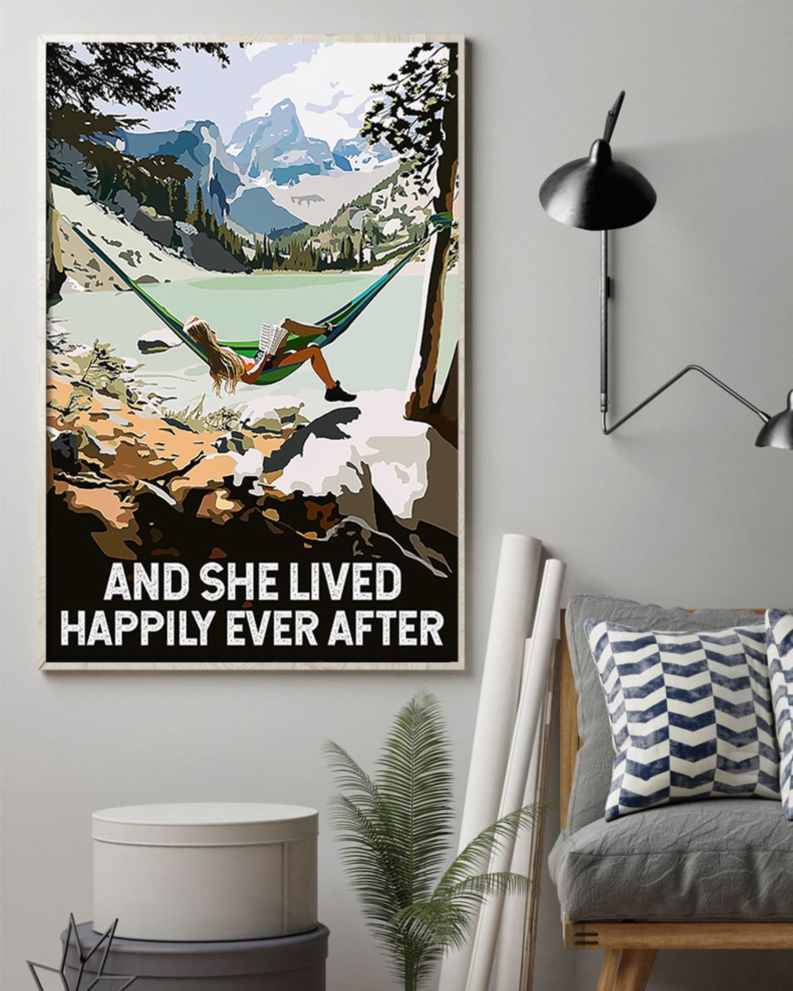 Liebe Camping Wandern Poster Mädchen lesen Buch Camper | Etsy