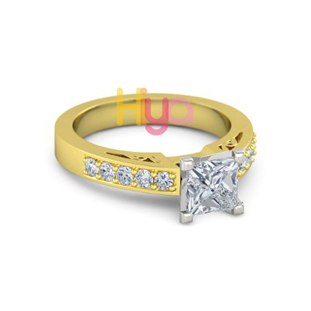 Ct princess cut diamond solitaire engagement ring solid k