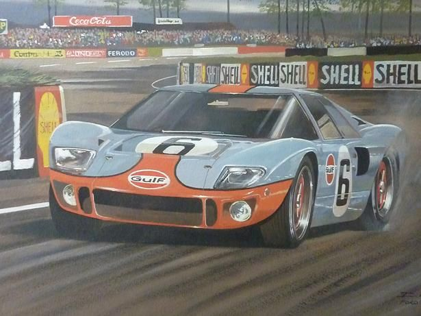 Ford Gt 40 Le Mans In The Famous Blue And Orange Gulf Racing Colours Auto Racing Art Racing Artwork Ford Classic Cars