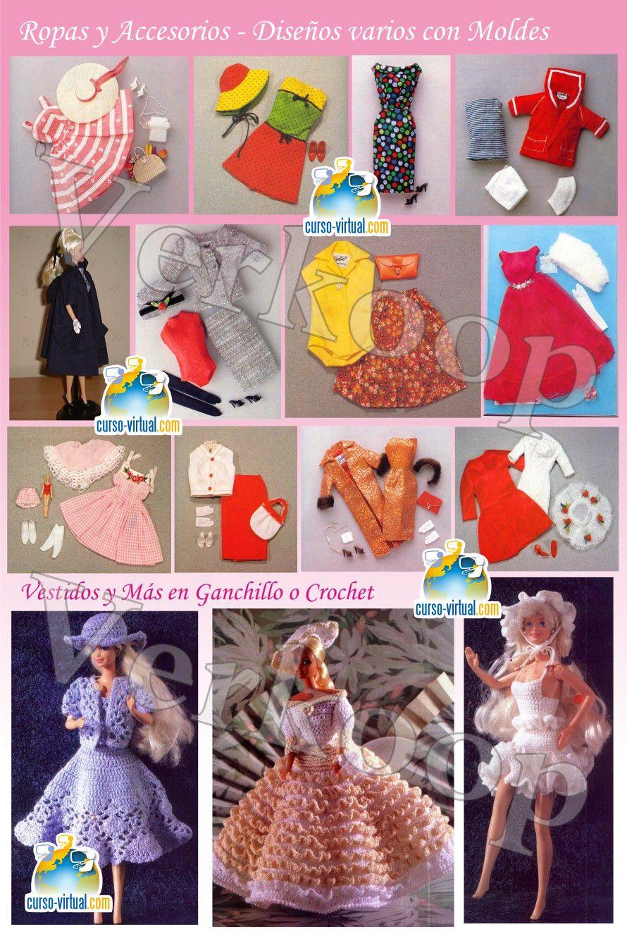 Muñecas Vestidos + Patrones Moldes Especial Barbie + Casa Tm Crochet ...