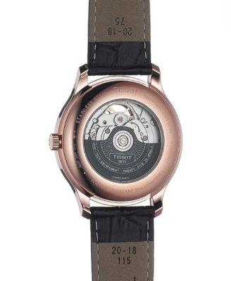 fa6e801eabb Tissot Men s Swiss Automatic Tradition Powermatic 80 Black Leather Strap  Watch 40mm T0639073606800 - Black