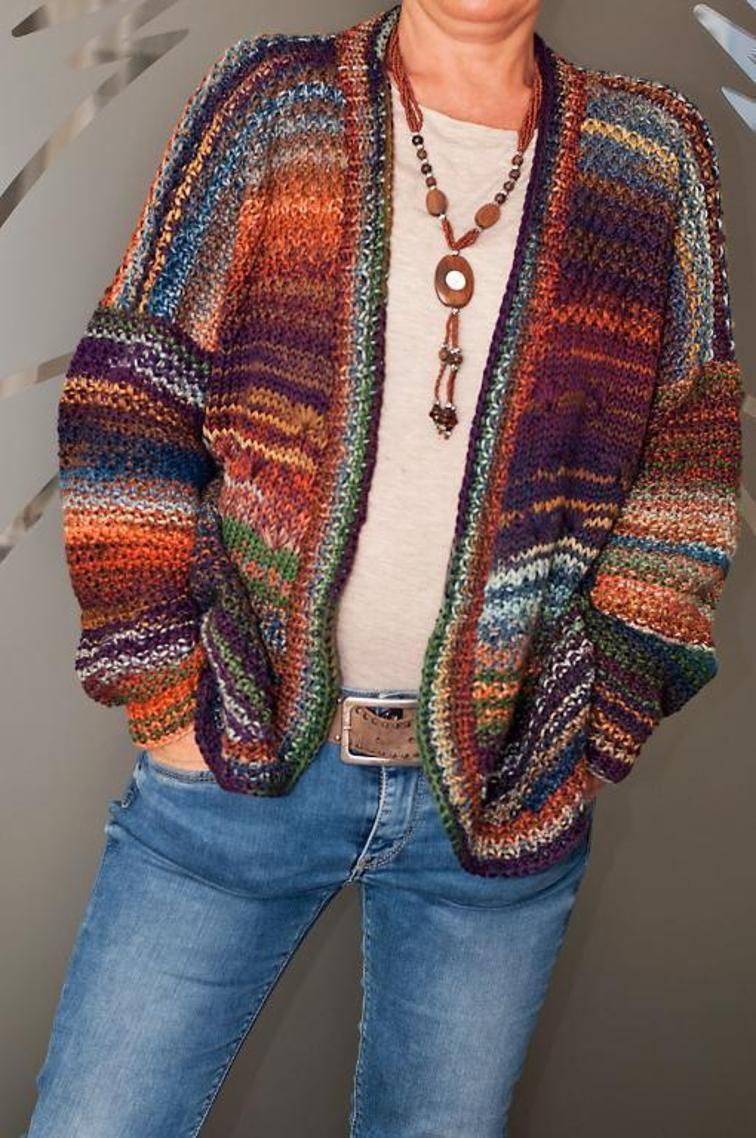 Nastja - Colorful cardigan | Knitting patterns and Patterns