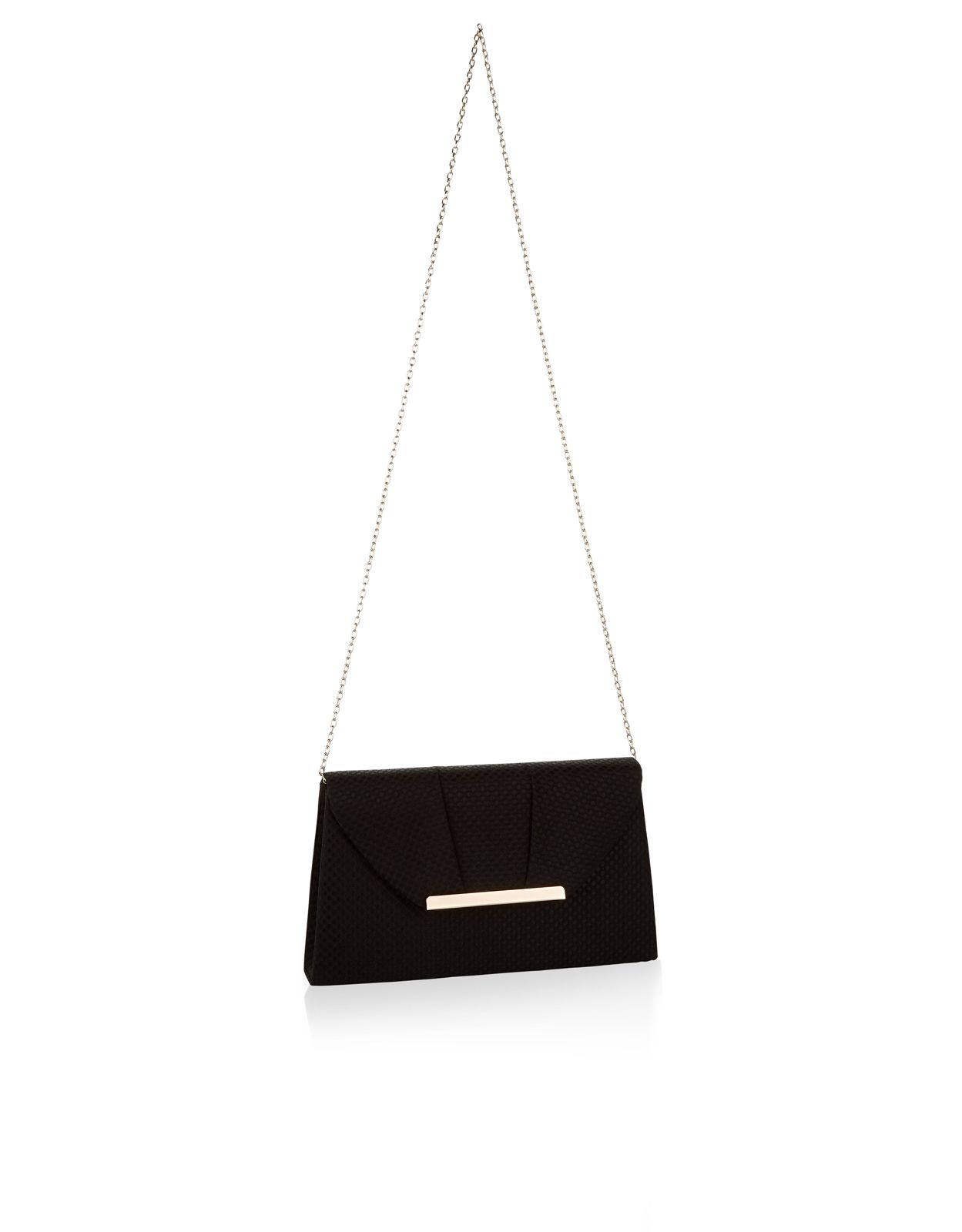 The Iris clutch has a vintage-inspired design featuring a woven outer with a pleated effect to envelop flap, finished with a gold-coloured metal bar, concealed popper fastening and a fine chain strap.