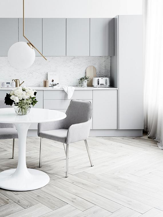 Bright kitchen with light gray Modern kitchen