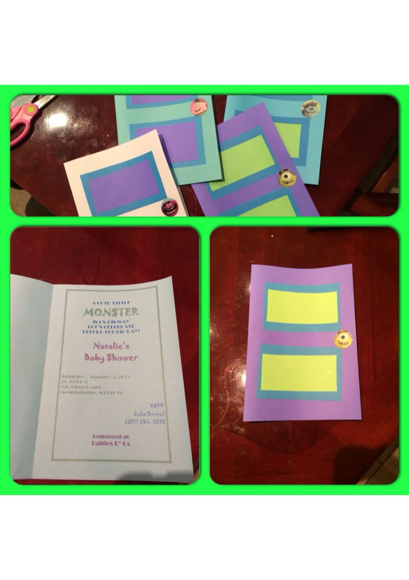 birthday free invitation maker%0A Monster Inc doors baby shower invitations