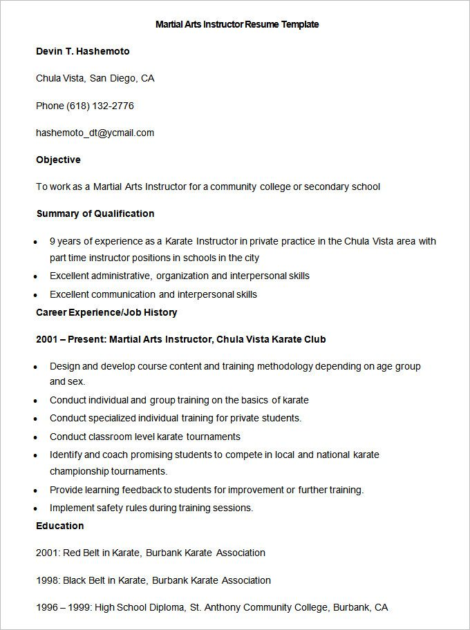 Sample Martial Arts Instructor Resume Template , How to Make a - early childhood specialist resume