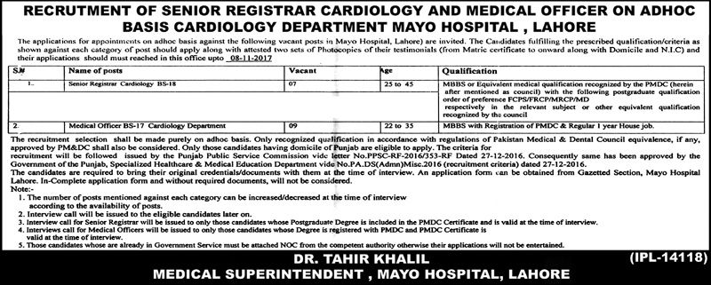 Mayo Hospital Jobs  In Lahore For Medical Officer And