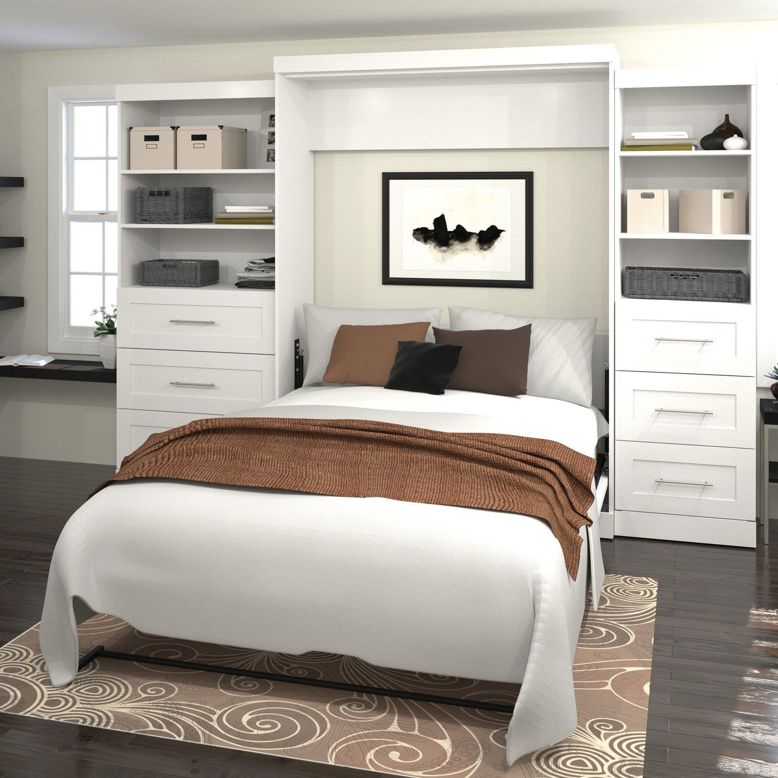 Best Bestar Pur Murphy Wall Bed With Two 3 Drawer Attached 640 x 480