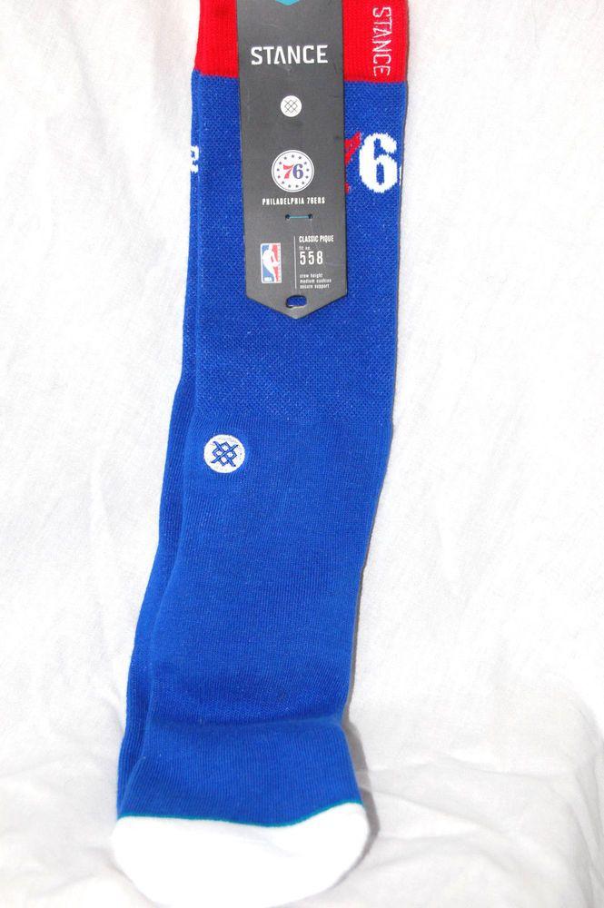 3f66df632 Stance 558 Philadelphia 76ers Arena Logo Socks Size Large 9-12 NBA Blue New   Stance  CrewHeight