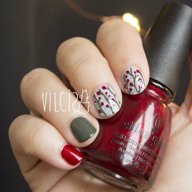 Short nails design: Christmas landscape. Diseño de uñas cortas ...