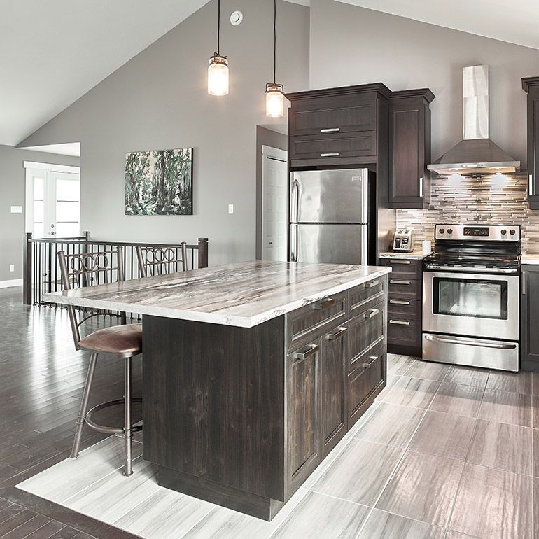 cuisine contemporaine avec comptoir en stratifi imitation granit kitchen pinterest. Black Bedroom Furniture Sets. Home Design Ideas