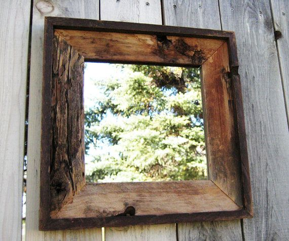 Rustic Reclaimed Wood Mirror in Vintage Wood Frame. Barn Wood Salvaged Wood  Frame. Brown - Rustic Reclaimed Wood Mirror In Vintage Wood Frame. Barn Wood