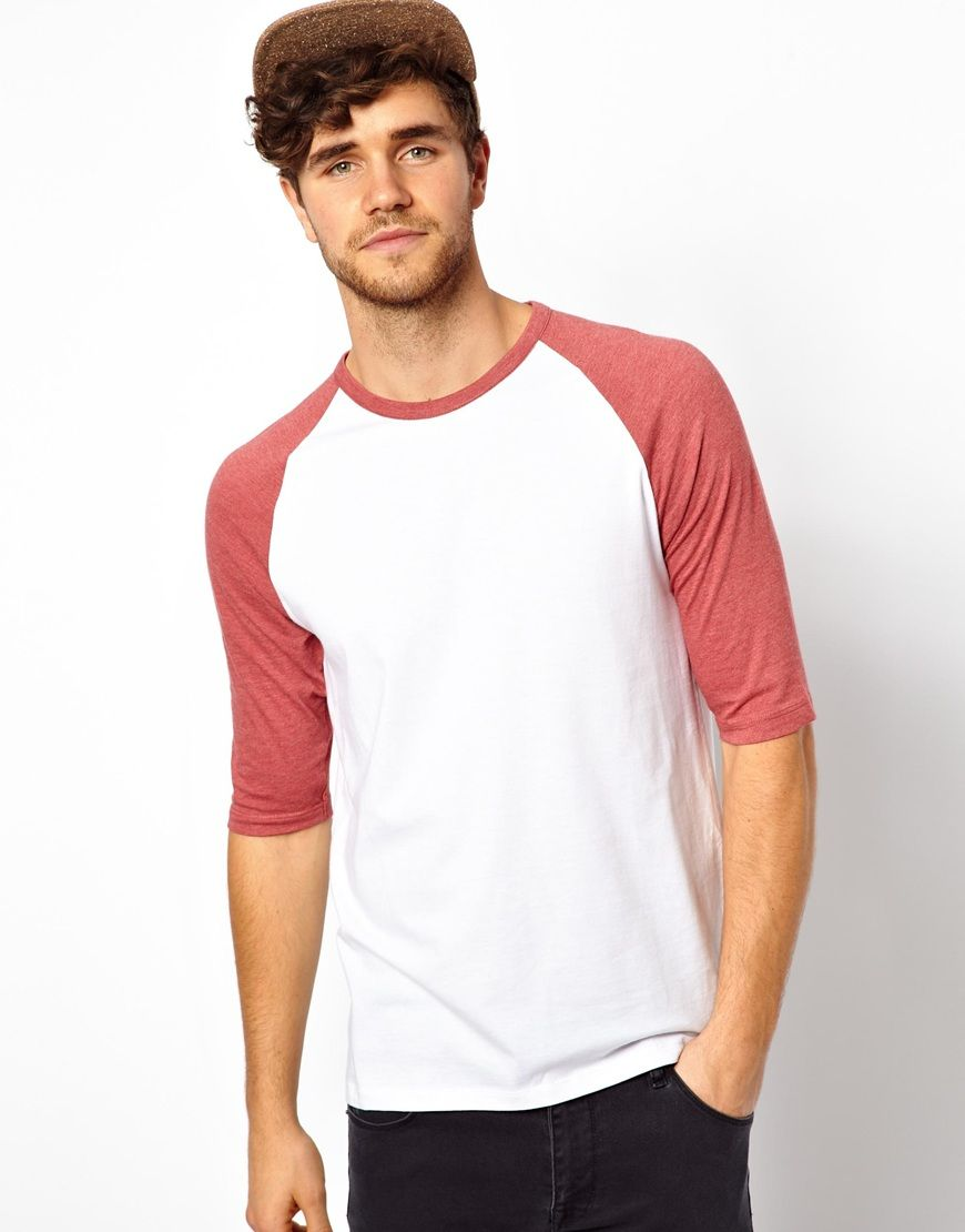 ASOS - White Sleeve T-shirt with Contrast Raglan Sleeves
