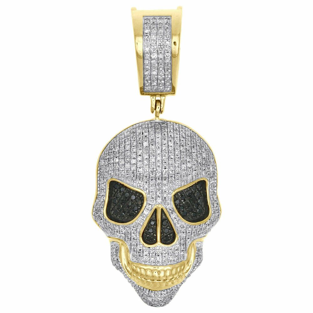 10k Yellow Gold Finish White Black Diamond Scary Skull Pendant Charm 0 76 Ct Truejew White Gold Earrings Studs White Gold Studs White Gold Pendant Necklace