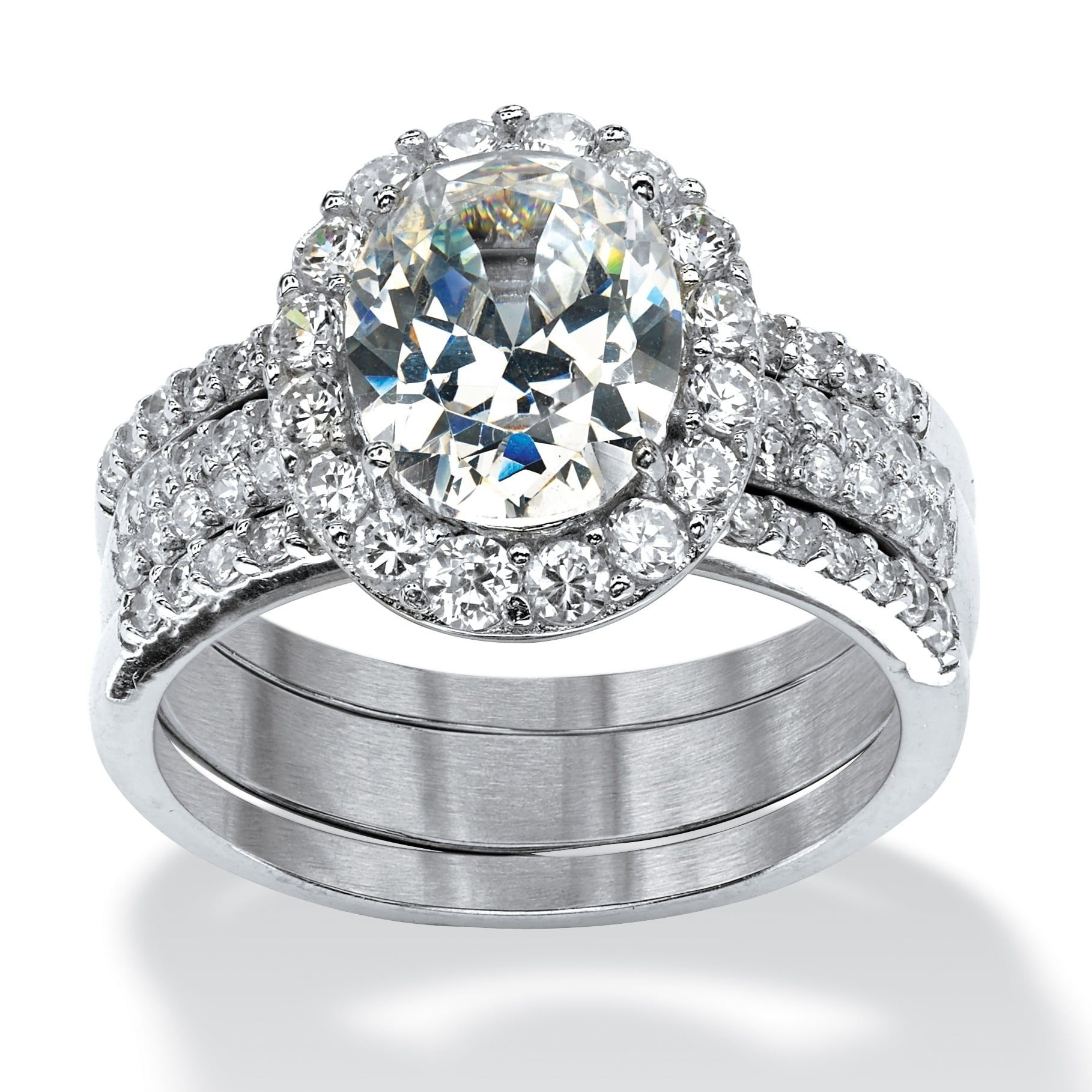 Platinum over Sterling Silver Cubic Zirconia Halo 3Piece
