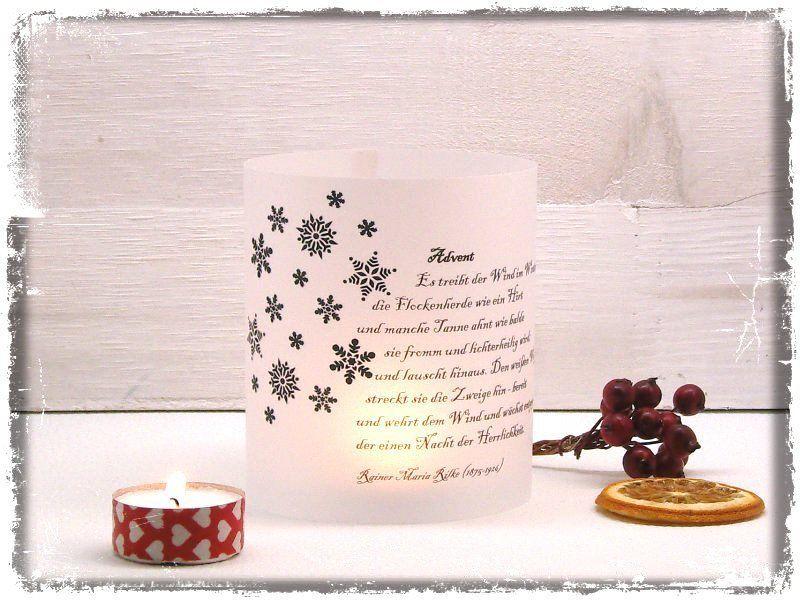 Windlicht Mit Vorweihnachtlichem Gedicht Advent Von Rainer