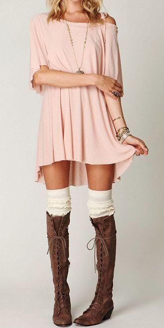 851540286d65 dress pink dress off the shoulder dress t-shirt dress sweet blonde hair  nice jewels