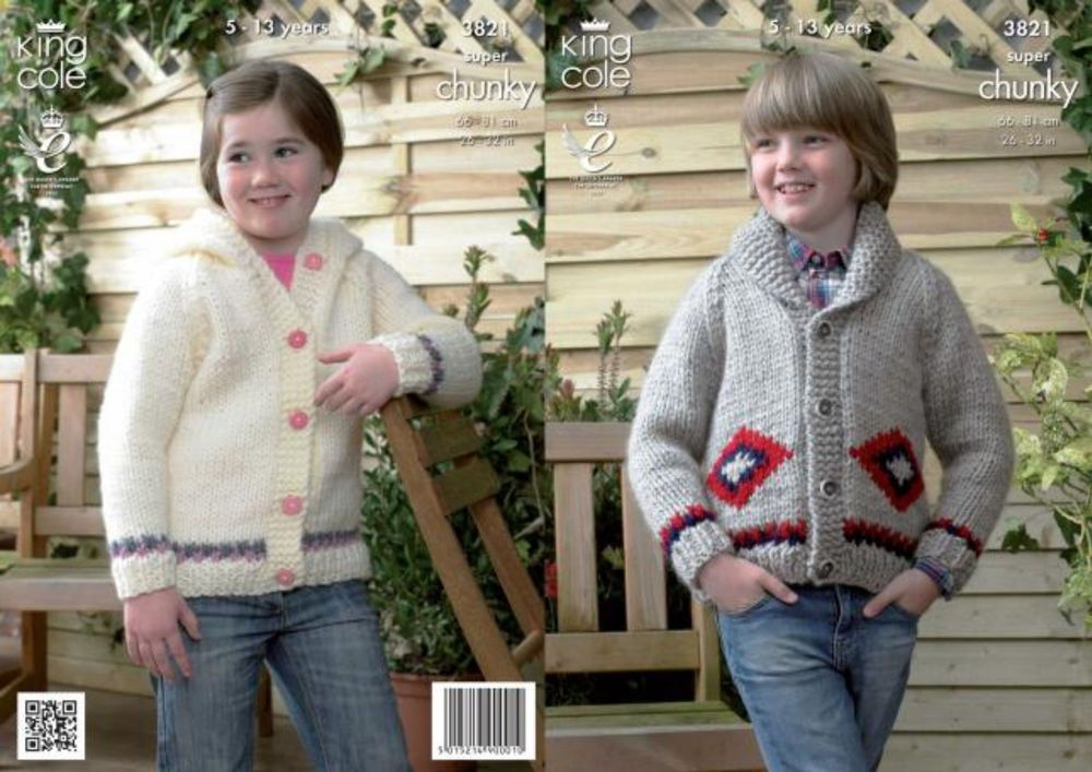 Super Chunky Knitting Pattern King Cole Girls Boys Jacket Hooded Cardigan 3821