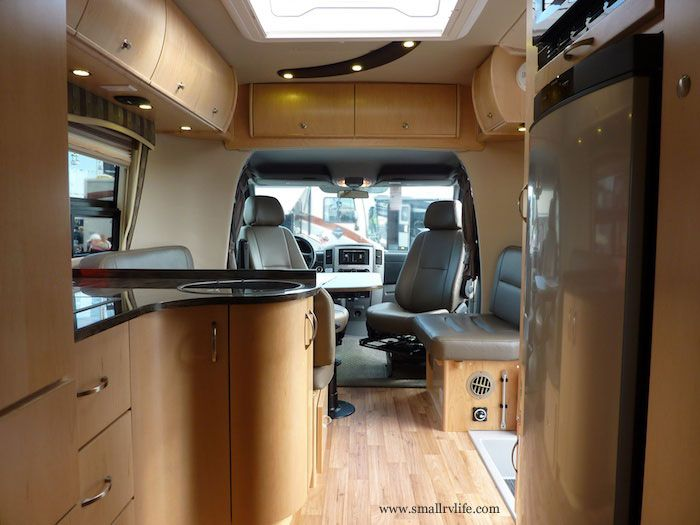 Small Camper Interior Is A Sleek Sprinter Rv By Leisure Travel Vans Small Rv Life The