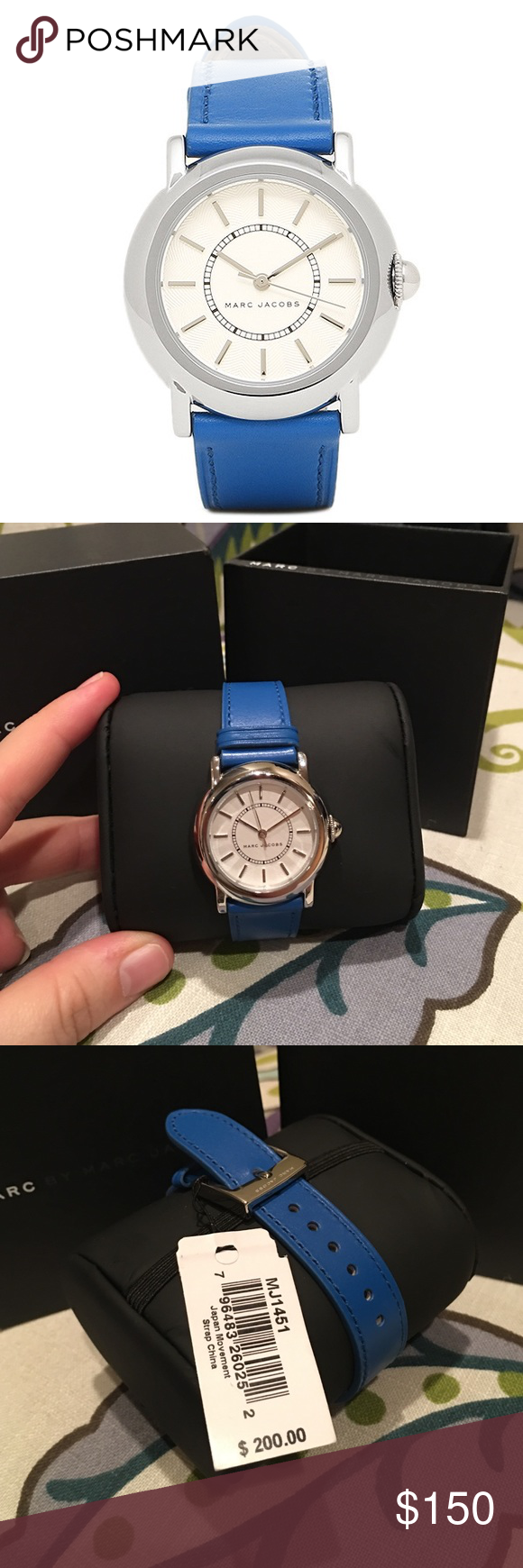 Marc Jacobs 'Courtney' Watch Blue Leather Strap Great and stylish watch! Cobalt blue strap. Come in a MBMJ box. Stainless steel. Case size: 34mm. Water resistant at 50 meters. Offers welcome through offer tab. No trades. 10110171391 Marc Jacobs Accessories Watches