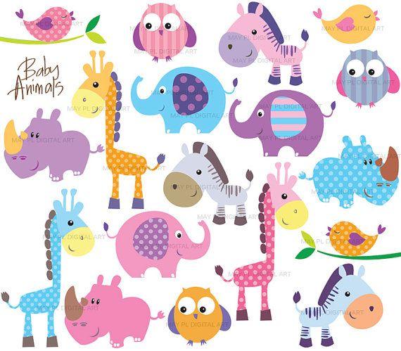Safari Jungle Animals Clipart Cute Baby Zoo Animals Includes Etsy In 2021 Free Clip Art Animal Clip Art Baby Zoo Animals
