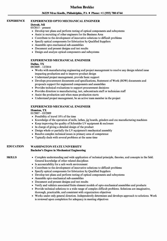 Experienced Mechanical Engineer Resume Unique Mechanical Aerospace Project Design Engineer Mechanical Engineer Resume Engineering Resume Mechanical Engineering