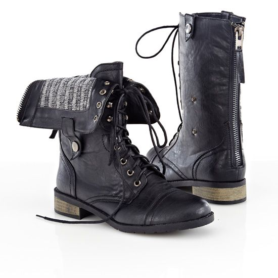 Cheap Womens Black Combat Boots - Yu Boots