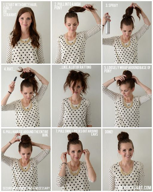 Messy Bun Tutorial This Would Be Good For Me Since I Have Such Thin Hair Hair Styles Thick Hair Styles Long Thin Hair
