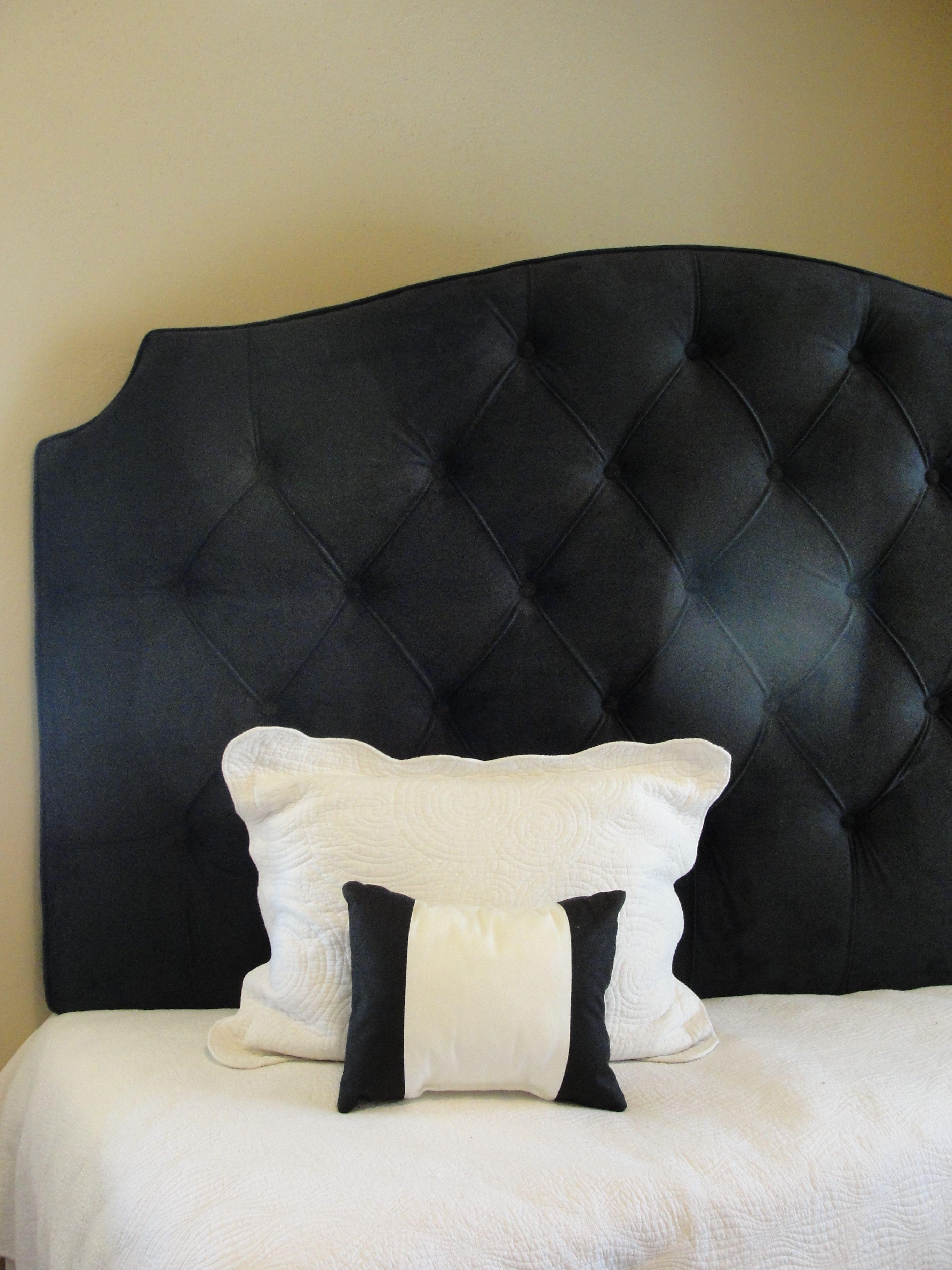 Black Velvet King Tufted Upholstered Headboard Extra Tall