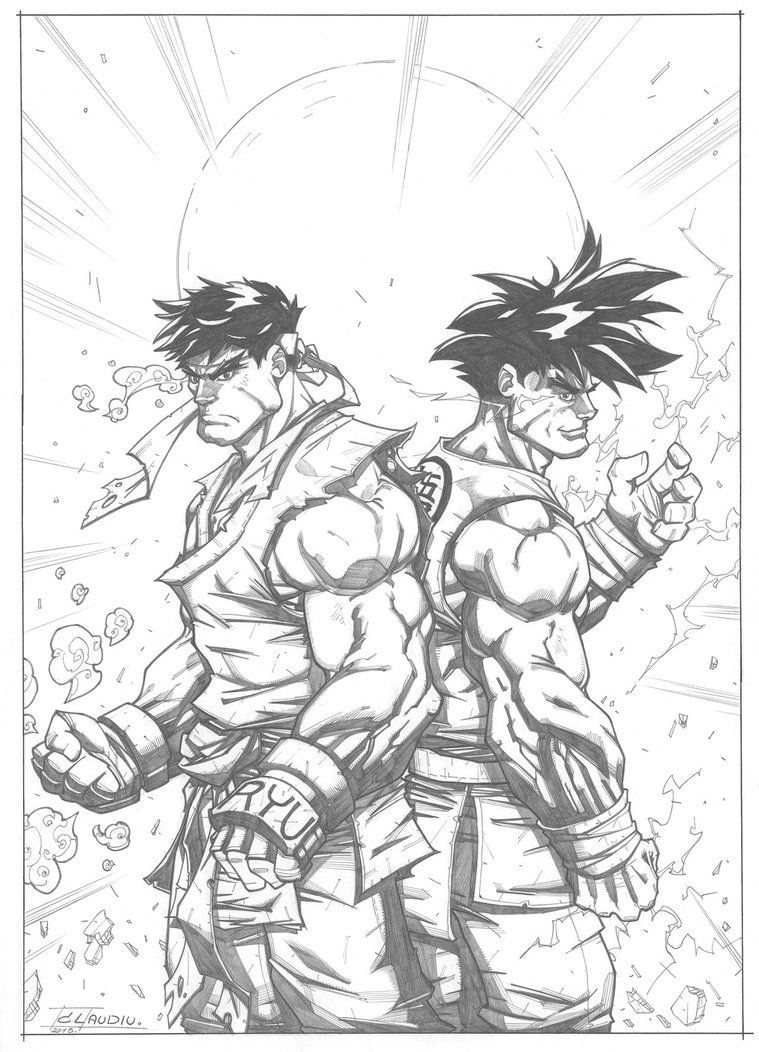 Ryu And Goku By Lc Creations Sketches Goku Sketches Artwork