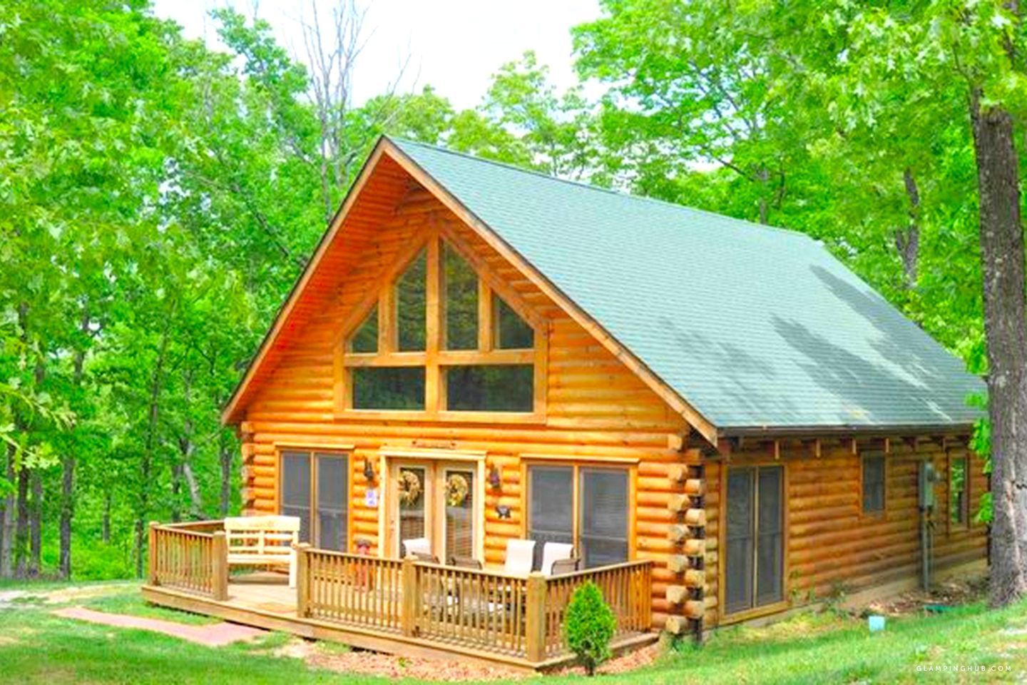 Check Out This Glamping Cabin With Its Own Hot Tub Perfect For A Glamping Getaway To The Ozarks In Missouri Cabin Log Cabin Homes Branson Vacation