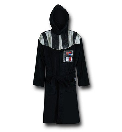 The 100% polyester Star Wars Darth Vader Hooded Fleece Robe is a one size fits most robe that will help you laze about the Death Star or calmly choke out subordinates. You'll still be angry at their lack of faith, but hey, at least you'll be chilled out! Soft and super cool, the Star Wars Darth Vader Hooded Fleece Robe would be what the Dude would wear...if he was stuck in a galaxy, far far away!<br /> <br /> <i><b>Sleeve Length:22''<br /> Robe Length:53.5''<br /> Chest Size: 53.5''<br…