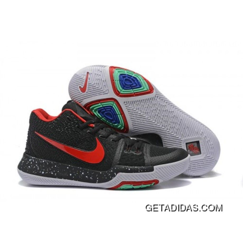 Authentic Nike Kyrie 3 Black Red Speckled White Discount