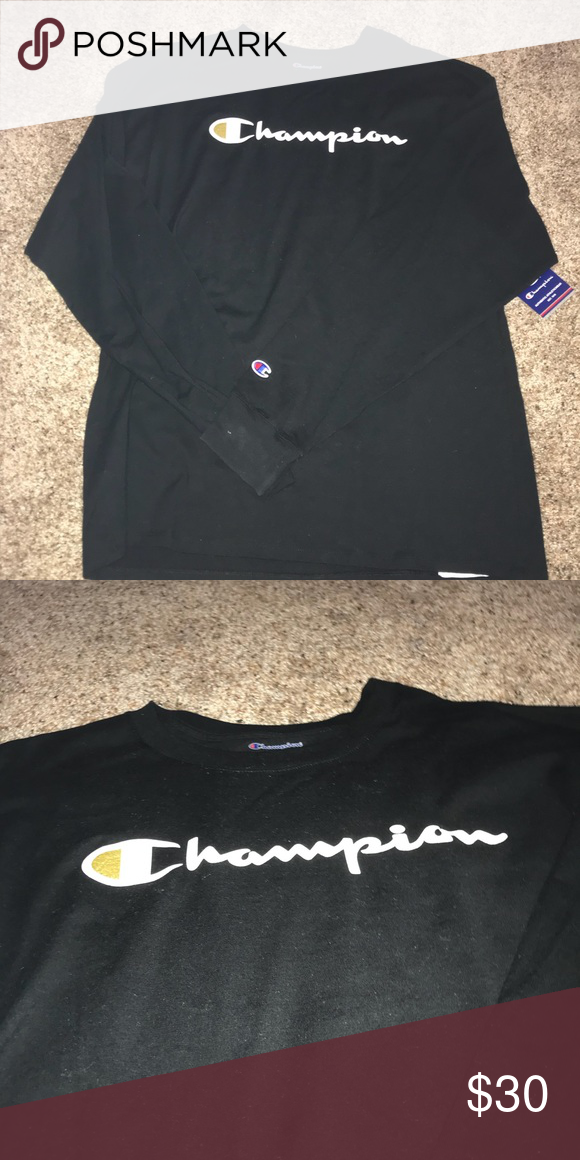 878e2c2101fe NWT men's champion longsleeve Brand new men's tee in black and gold  Champion Shirts Tees - Long Sleeve
