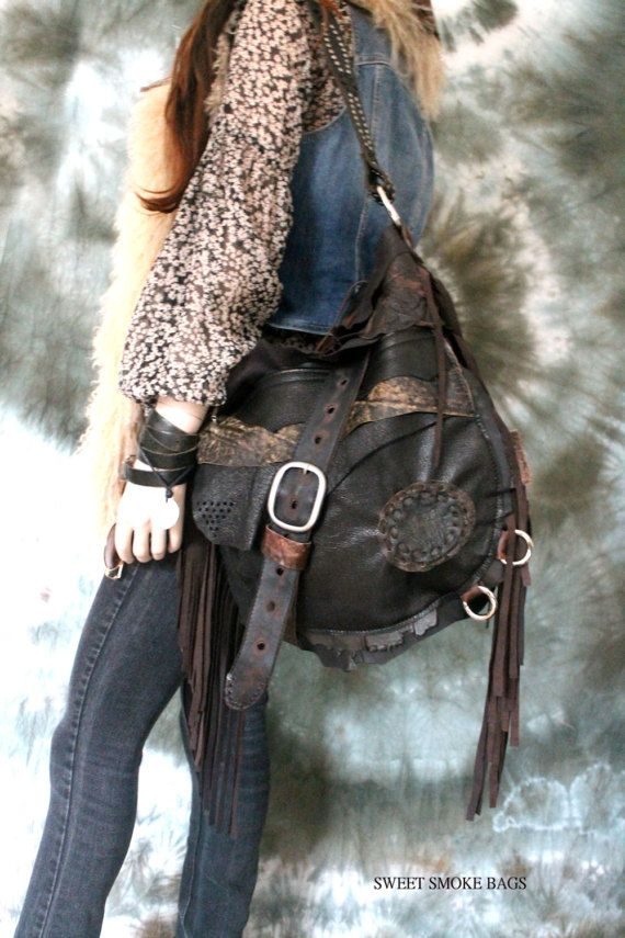 1421efde9b Large dark brown leather distressed bag fringe hobo unique purse ...