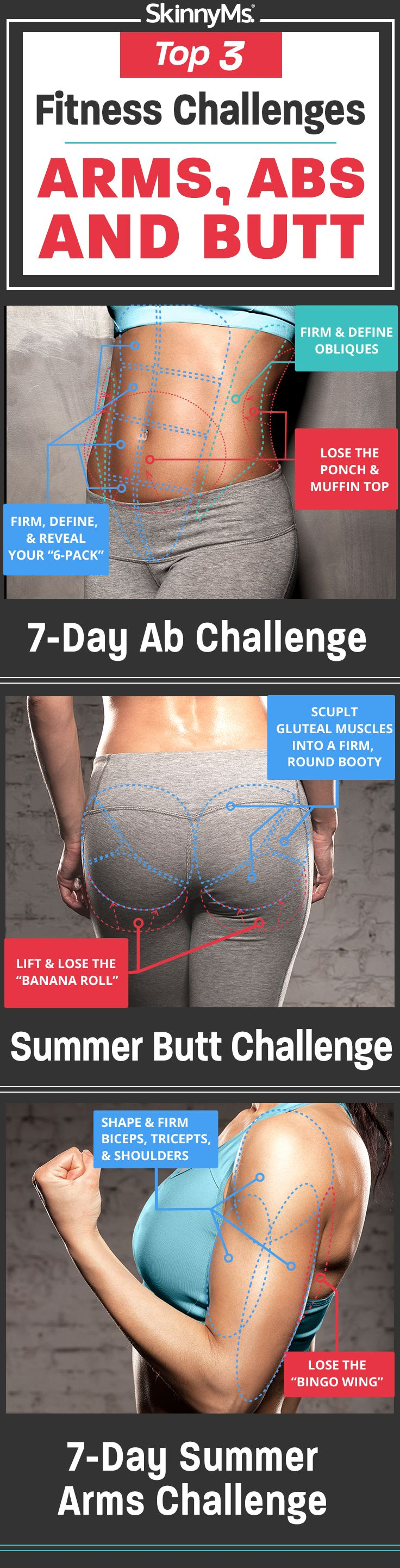 Top 3 Fitness Challenges ~ Arms, Abs, and Butt
