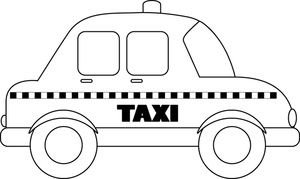 Black And White Outline Of A Taxi Coloring Page 0515 1005 2304