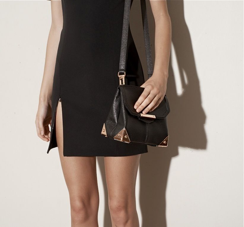 April 2013: T by Alexander Wang Tech Suiting Short Sleeve Fitted Dress in Black. Alexander Wang Marion Sling in Black Pebble Print Calfskin with Rose Gold Hardware.