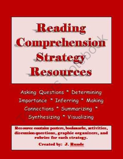 Reading Comprehension Strategy Resource Binder From Rundes Room On Teachersnote Reading Comprehension Strategies Reading Comprehension Comprehension Strategies